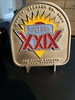 RARE Super Bowl XXIX 1994 Double R Sports Pewter Plaque Football with Stand