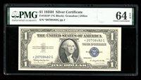 DBR $1 1935-H Silver STAR Fr. 1618* PMG 64 EPQ Serial *20708482G