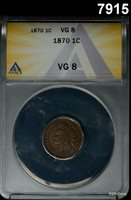 1870 INDIAN HEAD CENT ANACS CERTIFIED VG8 SCARCE DATE! #7915