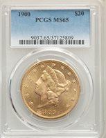 1900 US Gold $20 Liberty Head Double Eagle - PCGS MS65