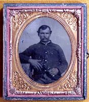 #1070 - TINTYPE: Union Soldier, 1/6th Plate & Half Case