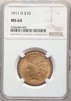 1911-D $10 MS64 NGC