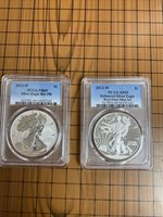 2013-W SILVER EAGLE WEST POINT SET PCGS REVERSE PF69 & ENHANCED FINISH SP69