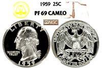1959 WASHINGTON NGC PF 69 CAMEO