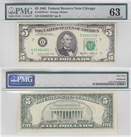 1985 $5 Federal Reserve Star Note Chicago District FR 1978-G* PMG Choice 63