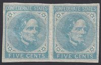 CSA #7 Horz Pair on London De LaRue Paper UNUSED (4-Margin) OG NH Very Fine.