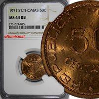 Saint Thomas & Prince Island 1971 50 Centavos NGC MS64 RB KM# 17.2