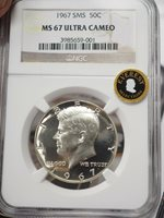 1967 Kennedy Silver Half NGC SMS 67 Ultra Cameo Everest Selection r an t Coins