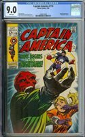 CAPTAIN AMERICA #115 CGC 9.0 WHITE PAGES // RED SKULL COVER + APPEARANCE 1969