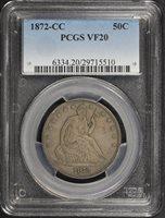 1872-CC 50C VF20 PCGS