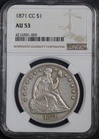 1871-CC $1 AU53 NGC