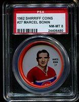 1962 SHIRRIFF COINS #27 MARCEL BONIN CANADIENS POP 13 PSA 8 H2078818-480