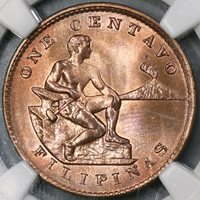 1938-M NGC MS 65 RB Philippines 1 Centavo Coin US Administration (18091605CZ)