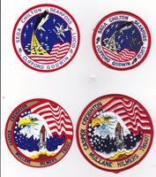 SPACE SHUTTLE 2 PATCHES & 2 MATCHING LABELS UNUSED LOT #25