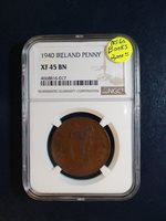 1940 Ireland Penny NGC XF45 BN BETTER DATE 1P Coin PRICED TO SELL QUICKLY!!