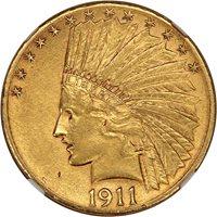 1911-D $10 NGC/CAC AU58