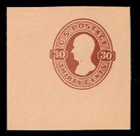 U338 30c Red Brown on Oriental Buff, Mint Cut Square, 48 x 48