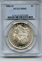 1882-O Morgan Silver Dollar $1 PCGS MS63 Certified Coin - JC601