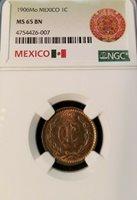 1906 MEXICO UN CENTAVO 1C NGC MS 65 BN BEAUTIFUL GEM BU EARLY DATE