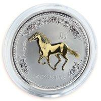 Australia, 1 Dollar, Year of the Horse silver gilded coin 1 oz 2002