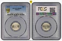 1943 Malaya 10 Cents PCGS MS65 Only 3 graded higher Very Rare In This High grade