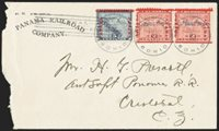 "CANAL ZONE, 1904, 2c Rose, ""Canal Zone"" Inverted (1a). Horizontal pair from bottom row of sheet, used with 5c Blue with Diagonal ""Canal Zone"" (2d), each tied by ""Canal Zone, Bohio, Jul. 8, 1904"" circular datestamps and barred ""Canal Zone"" on Panama Railroad Company corner card cover to Cristobal, left 2c stamp with tear and cover opened roughly at left, Fine, believed to be the only known multiple of the 2c inverted overprint on cover, the used singles catalogue $2,400.00, ex Salz"