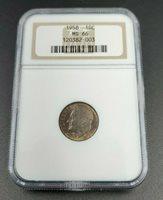 1958 P Roosevelt Dime Silver Coin NGC MS66 Gem BU Neat Toning ANA Brown Label