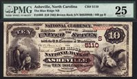 $10 1882 Brown Back The Blue Ridge National Bank of Asheville, North Carolina