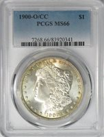 1900 O/CC $1 Morgan Silver Dollar PCGS MS66
