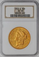 1852-O $20 Gold Liberty #938422-10 AU58 NGC
