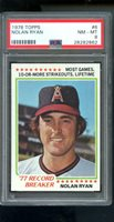 1978 Topps #6 Nolan Ryan 1977 Record Breaker NM-MT PSA 8 Graded Baseball Card