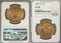 1882-CC $20 Liberty AU58 NGC