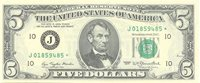 Fr No.1974 J* 1977 Federal Reserve $5 This note displays large varying size margins with the centering displaced toward the bottom left Ch CU