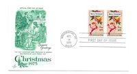 1580 Christmas 1975, Early Card, ArtCraft pair FDC