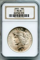 1922 Silver Peace Dollar NGC MS 64 Certified - Philadelphia Mint BG506