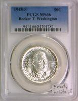 1948-S Booker T. Washington Commemorative Half Dollar PCGS MS-66; Frosty White!