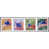 #4769a Flag for All Seasons, Coil Strip of Four, (Avery, die cut 8.5)