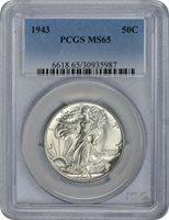 1943-P Walking Liberty Half Dollar, MS65, PCGS