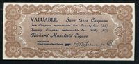 1800's RICHARD MANSFIELD CIGARS COUPON REDEEMABLE FOR GOODS OBSOLETE UNC (F)