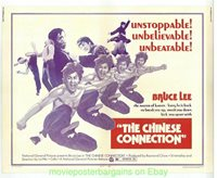 THE CHINESE CONNECTION MOVIE POSTER On Linen 1973 VF Half Sheet 22x28 BRUCE LEE