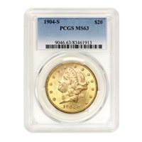1904-S $20 Gold Liberty PCGS MS63