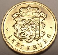 Gem Unc Luxembourg 1947 25 Centimes~National Arms Flanked By Diamonds~Free Ship