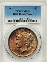 1921 $1 High Relief, Peace MS64 PCGS