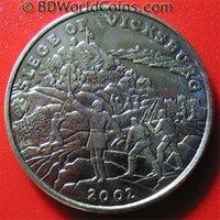 2002 LIBERIA $5 THE BATTLE SIEDGE OF VICKSBURG 1863 US CIVIL WAR HISTORY 31.5mm