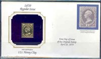US 12c HENRY CLAY 22Kt GOLD REPLICA COVER