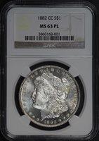 1882-CC $1 MS63PL NGC