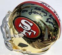 EDDIE DEBARTOLO SIGNED SAN FRANCISCO 49ERS CHROME MINI FOOTBALL HELMET PSA/DNA