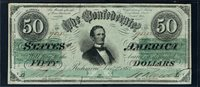 T50 $50 December 2, 1862. Jefferson Davis, back in green. Criswell 351, PF-4. Block CSA watermark. High-end Very Fine. Serial 95252.