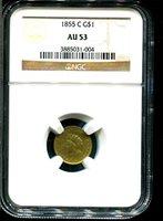 1855 Two $1 AU-53 NGC
