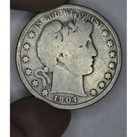 50c Cent 1/2 Half Dollar 1904 VG8 light gold toning